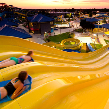 mat racing slides with sunset