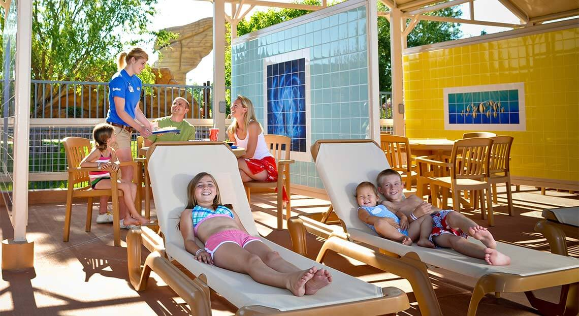 Family enjoying the cabanas