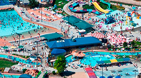 Wide aerial photo of Roaring Springs